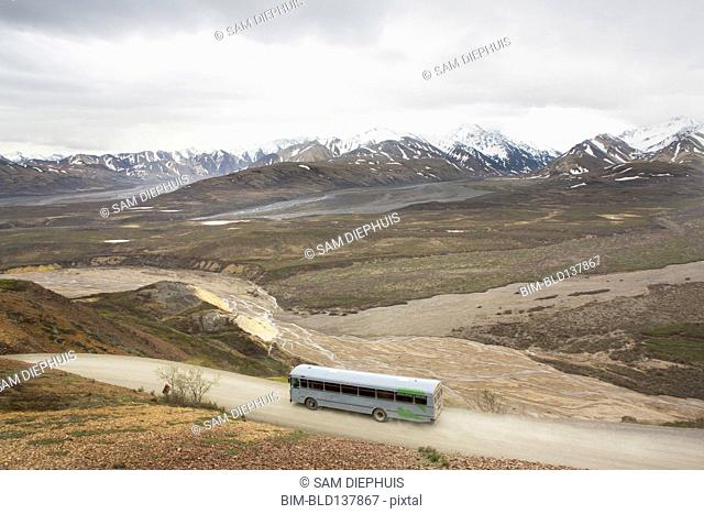 High angle view of tour bus in rural landscape, Anchorage, Alaska, Denali National Park, United States