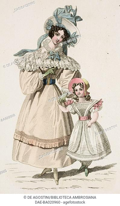 Woman wearing a beige walking dress with white lace cape and matching hat with blue ribbons accompanied by a young girl wearing a white dress and bonnet with...