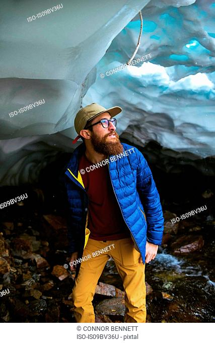Hiker exploring, Mineral King, California, United States