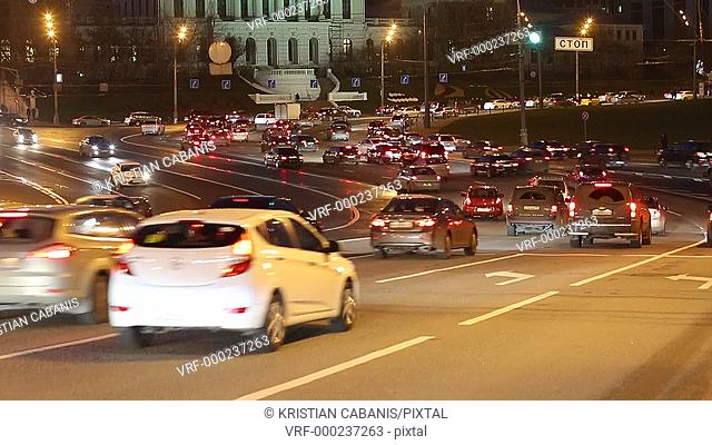 Traffic in downtown Moscow, Russia, Europe