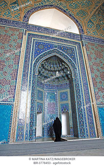 Woman praying in the Masjed-i Jamé Mosque or Friday Mosque, Yazd, Yazd Province, Persia, Iran