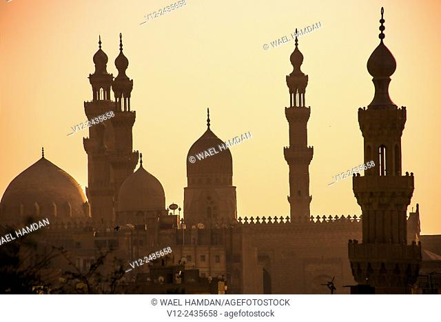 Minarets of Hassan mosque and el rifaie mosque. cairo. at sunset, view from citadel
