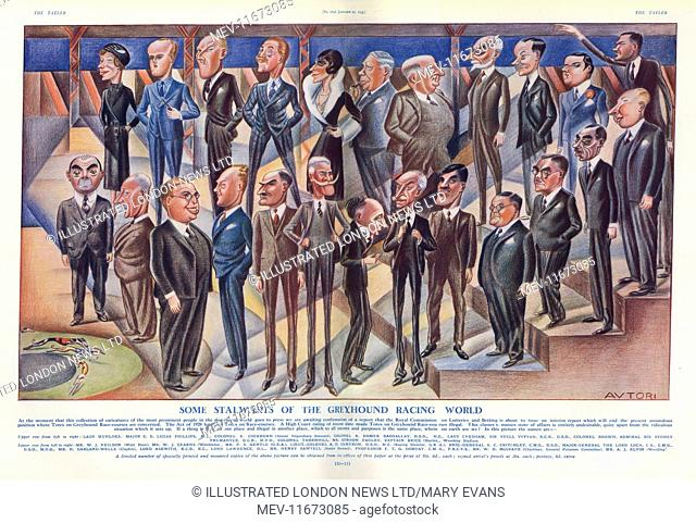 Caricatures of well-known personalities in the greyhound racing world in 1933. Among those shown is A. C. Critchley and Lady Chesham