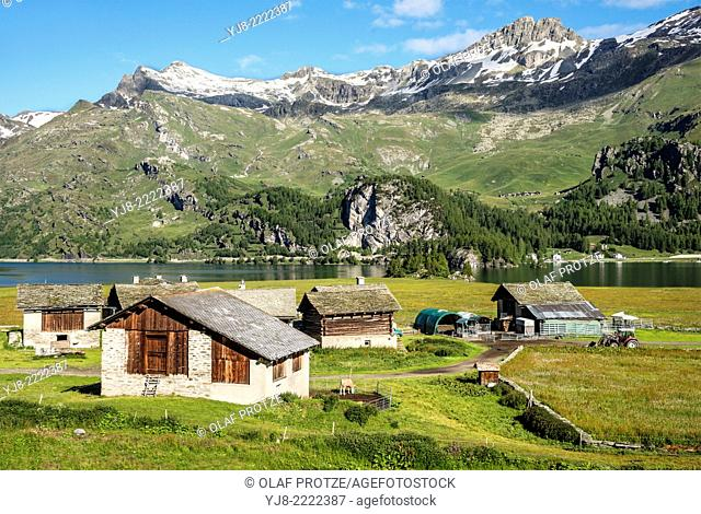 Traditional farmer village Isola at Lake Sils, in Summer, Switzerland