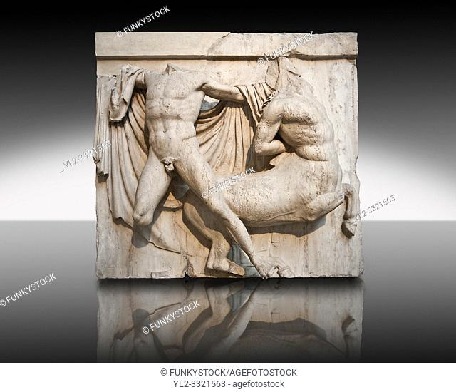 Sculpture of Lapiths and Centaurs battling from the Metope of the Parthenon on the Acropolis of Athens no XXVII. Also known as the Elgin marbles