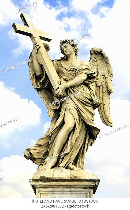 Angel with a Cross by Ercole Ferrata, Ponte Sant'Angelo - Rome, Italy