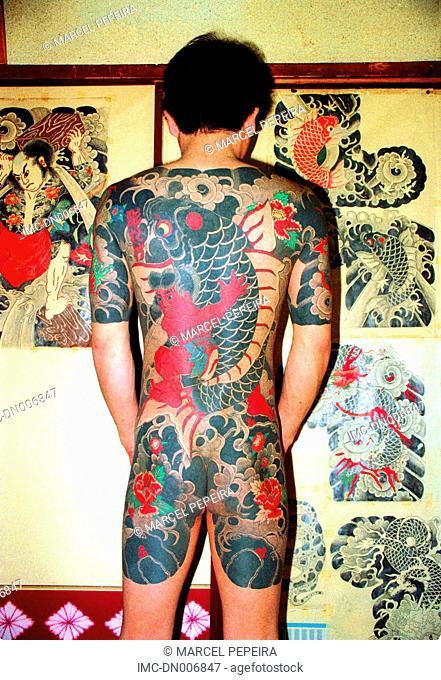 Japan, Tokyo, tattoo studio, tattooed man