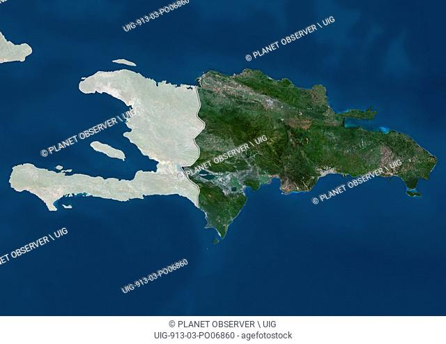 Satellite view of the Dominican Republic (with country boundaries and mask). This image was compiled from data acquired by Landsat satellites