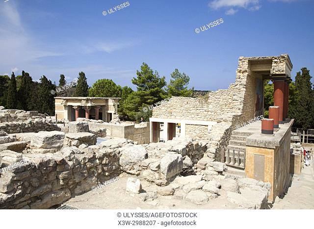View with the North pillar hall and the Halls of lustral basin, Knossos palace archaeological site, Crete island, Greece, Europe