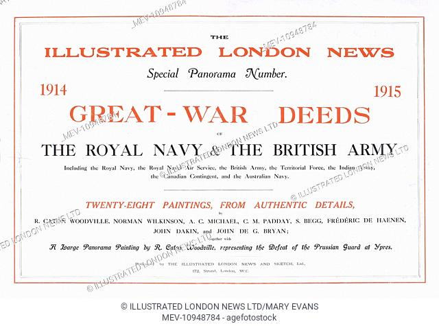 title page of great war deeds a special panorama supplement produced by the illustrated london