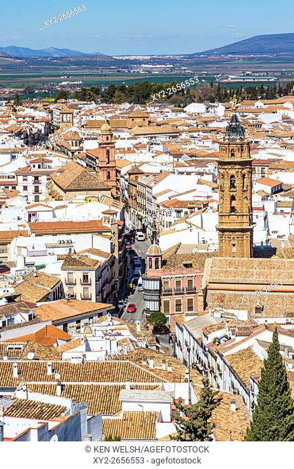 Antequera, Malaga Province, Andalusia, southern Spain. Looking down from La Alcazaba, (the citadel or castle) into the city