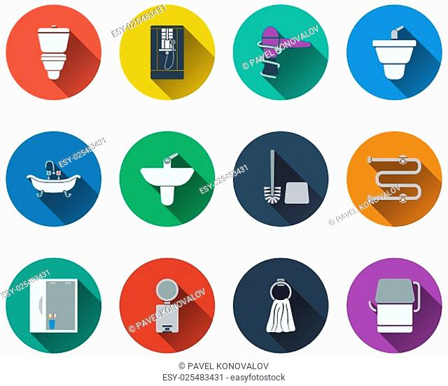 Set of bathroom icons in flat design. EPS 10 vector illustration with transparency