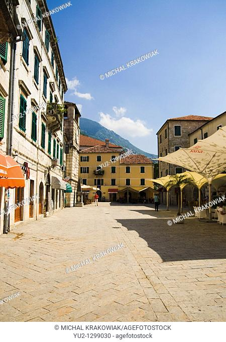 Main square of Kotor in Montenegro