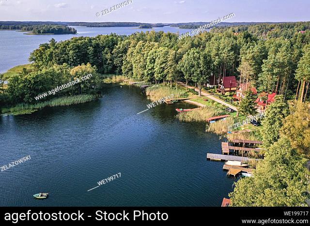 View on Narie Lake located in Ilawa Lakeland region, above Kretowiny village, Ostroda County, Warmia and Mazury province of Poland