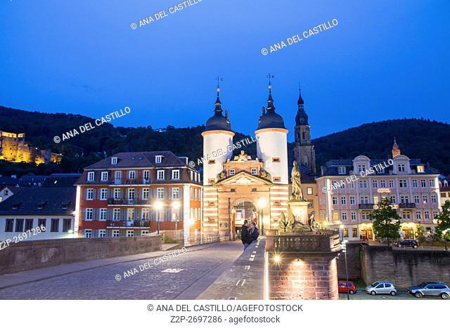 Carl Theodor Old Bridge by night in Heidelberg, Germany on May 12, 2016