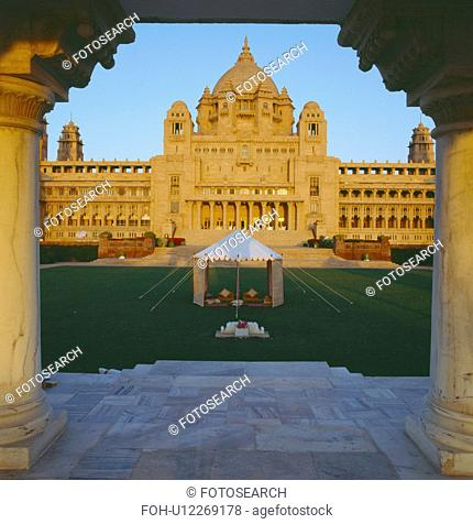 View from terrace of small traditional Rajastani tent on lawn in front of the Palace of Jodhpur