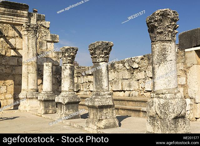 Old ruins of The White Synagogue, Capernaum, Sea of Galilee region, Israel