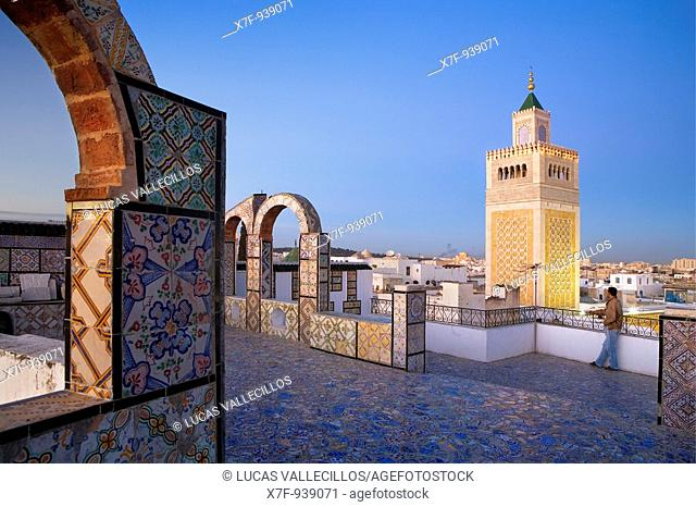 Tunisia: City of Tunis  Ez- Zitouna Mosque Great Mosque from a terrace of the medina