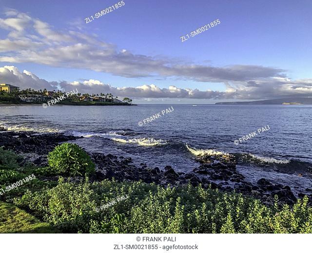 View from the famed boardwalk in Wailea, Maui, Hawaii