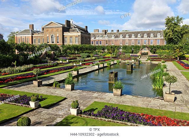 England, London, Kensington, Kensington Gardens, Kensington Palace, The Sunken Garden