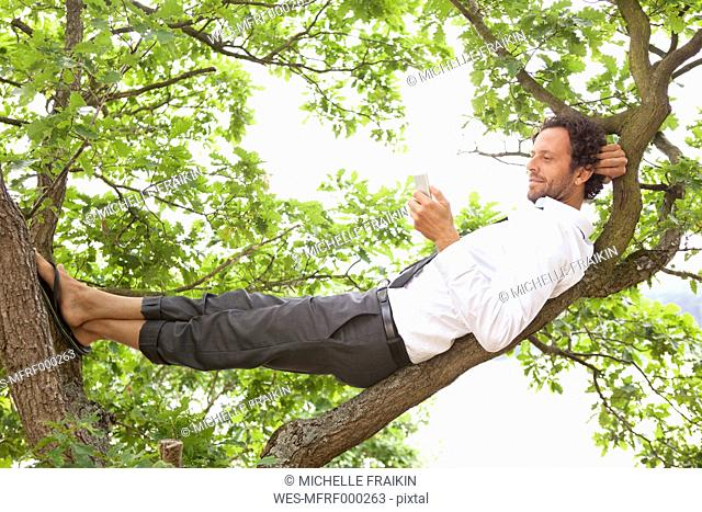 Germany, relaxed businessman lying in tree looking at cell phone