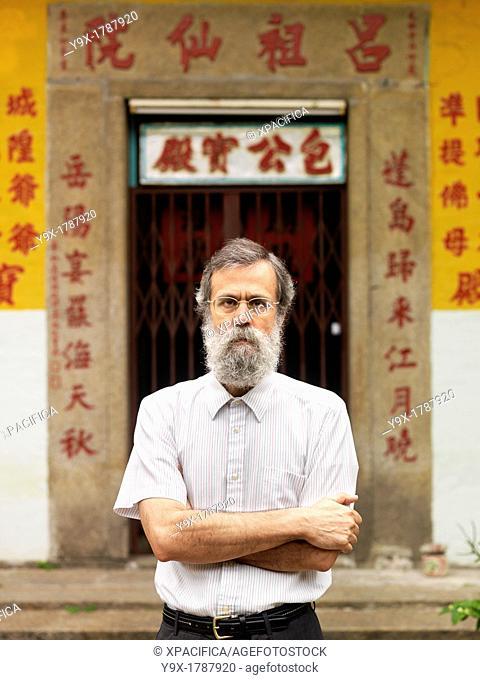 José Jorge Simões Cavalheiro, Professor of Macanese Culture and History photographed on Macau Peninsula