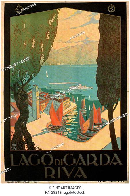 Riva del Garda by Simeoni, Antonio (active 1920s)/Colour lithograph/Art Deco/1926/Italy/Private Collection/100x70/Poster and Graphic design/Poster/Riva del...