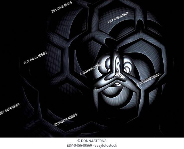 Bee Hive Background. Abstract honey / hive design. Hexagonal texture. Geometric fractal background. Fantasy digital art. 3D rendering