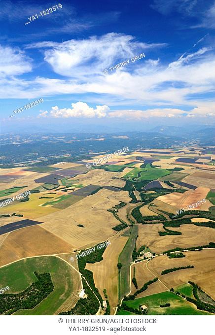 Aerial view of lavender fields in end June, plateau de Valensole, arround Valensole town, Alpes de Haute Provence, France