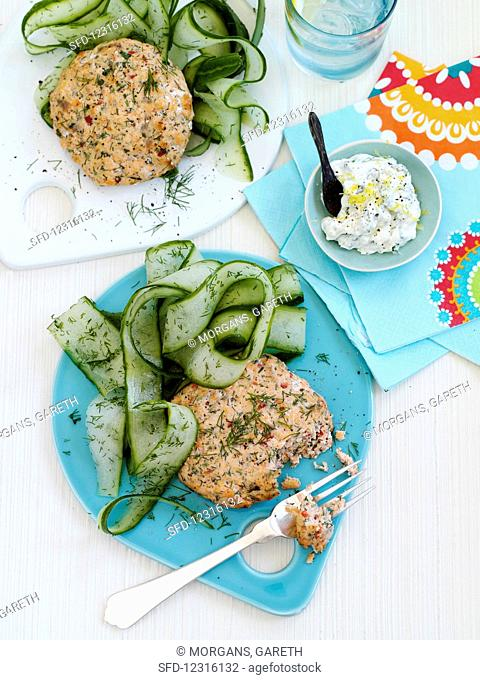 Salmon patties with cucumber strips and lemon mayonnaise