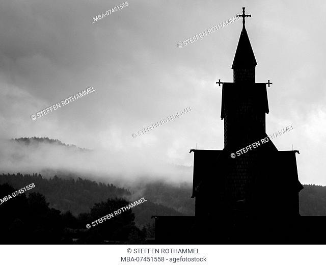 Church in Norway, gloomy, gray, silhouette