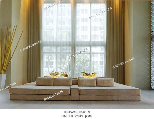Lounge sofa in hotel lobby