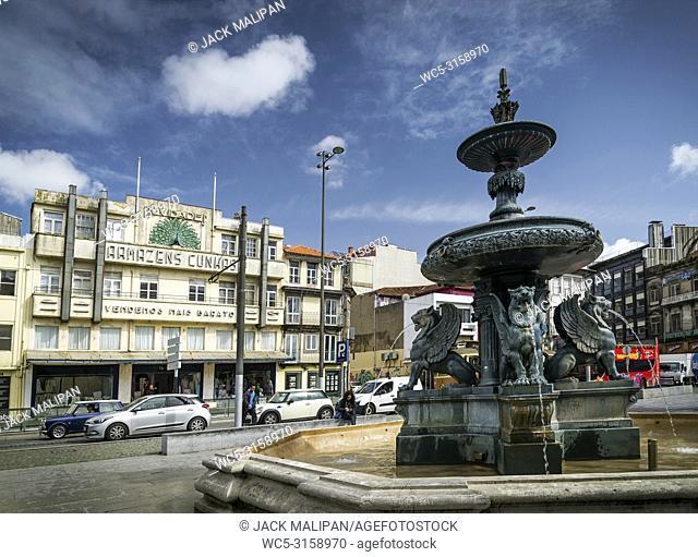 praca dos leoes square in central porto city portugal