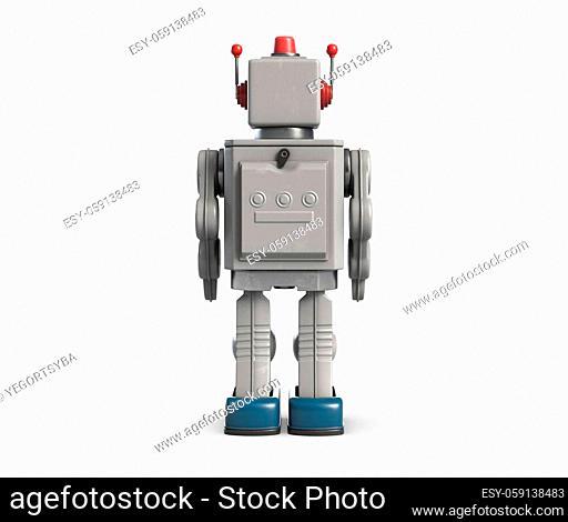 3d illustration of retro vintage robot toy isolated on white. Back side