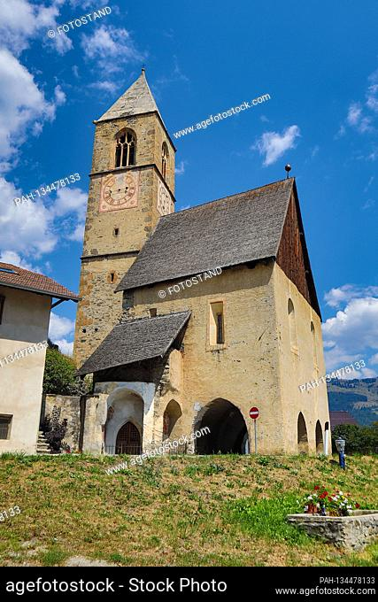 South Tyrol, Italy July 2020: Impressions of South Tyrol July 2020 Laatsch, Vinschgau, South Tyrol, pilgrimage church St