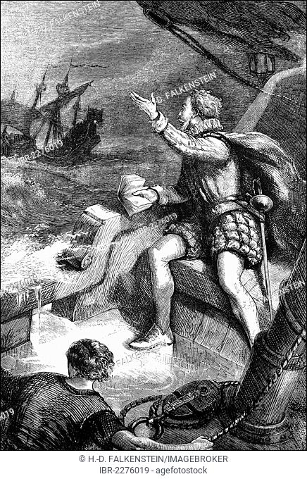 Historical scene from the U.S. history of the 17th century, the sinking of the Squirrell, 1583, with Sir Humphrey Gilbert, circa 1537-1583
