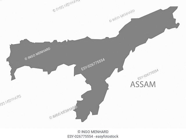 Assam India Map grey