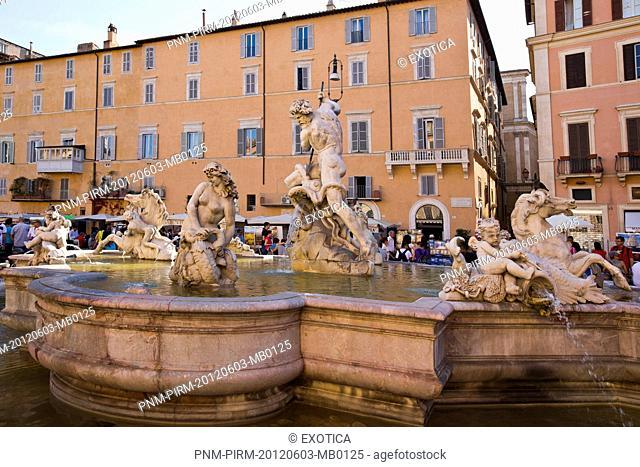 Fountain of Neptune at Piazza Navona, Rome, Lazio, Italy