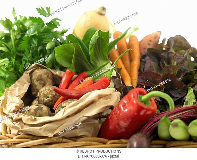 Raw Food, vegetables, Basket of Fresh Vegetables