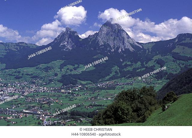 central Switzerland, Europe, mountains, myths, scenery, landscape, Schwyz, village, Switzerland, Europe