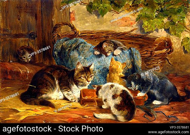 Adam II Julius - the Kittens' Supper - German School - 19th and Early 20th Century