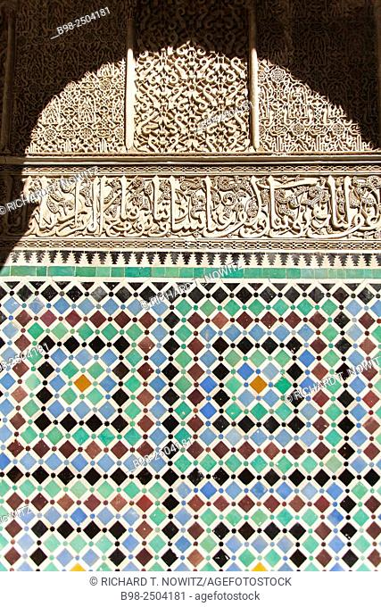 Tile patterns on wall of the Kairaouine Mosque (Djemaa el Kairaouine) in Fes is the second-largest mosque Fez, Morocco.