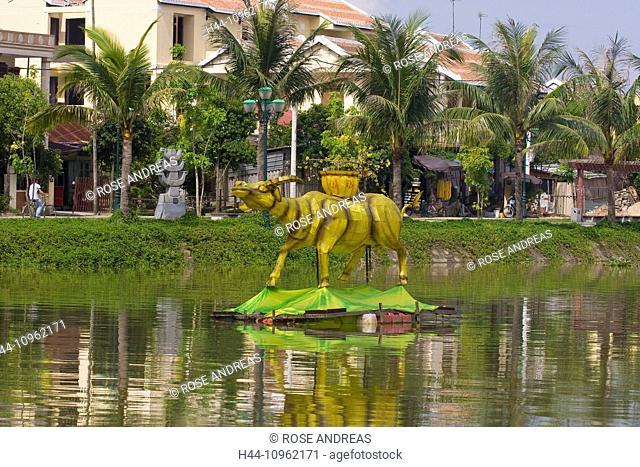 Asia, Thu, voucher, river, flow, Vietnam, South-East Asia, Hoi An, place of interest, Buddhism, culture, figures, statues