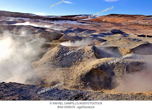 Sol de Mañana is a geothermal field in Sur Lípez Province in the Potosi Department of south-western Bolivia. It extends over 10 km²