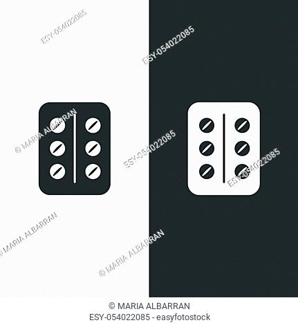 Pack of pills. Isolated image. Flat pharmacy and medicine vector illustration