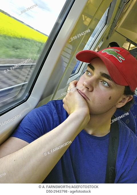STOCKHOLM, SWEDEN 16 year old on train