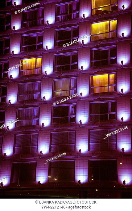 Illuminated building at night, Albert Embankment, London, UK