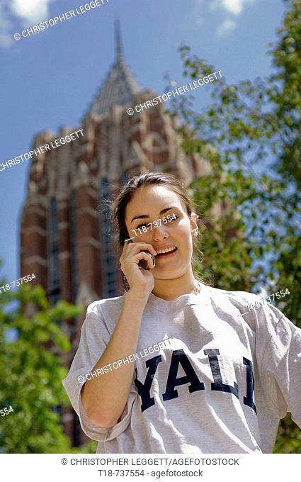 College student using cell phone