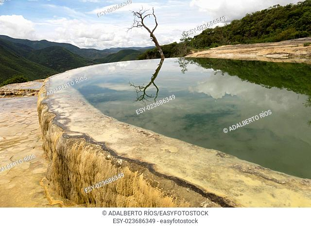 Hierve el Agua is a natural setting between the mountains of San Lorenzo Albarradas, Oaxaca, 22 kms from the archaeological site of Mitla