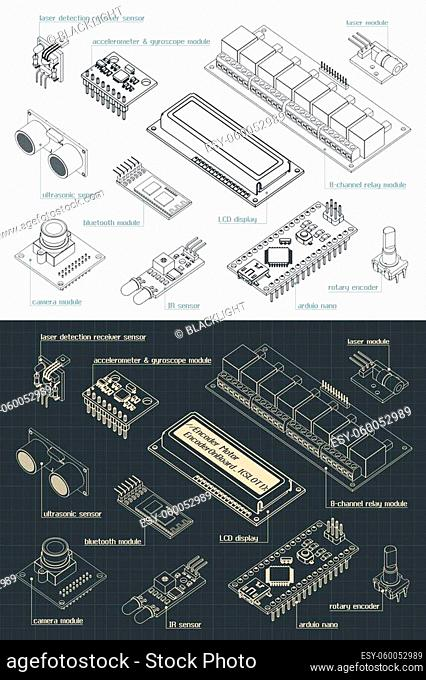 Stylized vector illustration of an Arduino sensors Set drawings